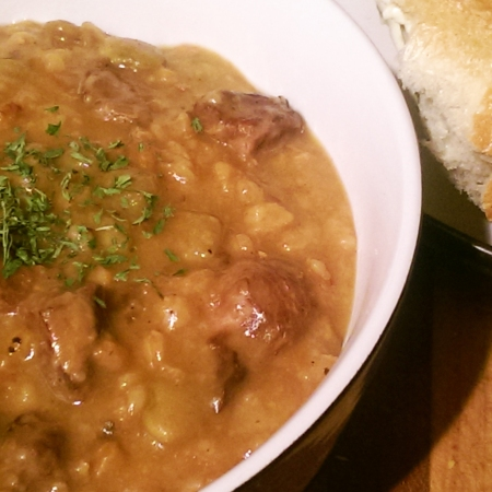 Beef and Farro Stew with Prunes